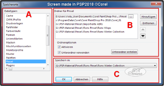 Screen - PSP Speicherorte - Dialogfenster